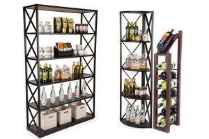 Wood and metal shelf fixtures for wine and liquor bottles