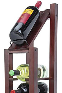 Closeup of a wine floor stand filled with 1.5 L bottles
