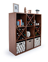 Brown wooden floor cube store shelves