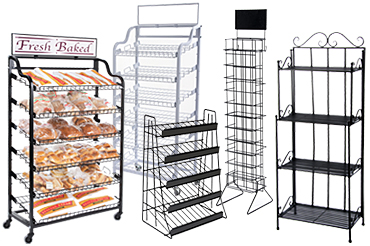 Wire display shelves