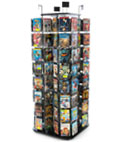 Wire Literature Rack with 4 Spinners for DVD's