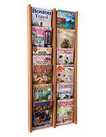 6-tiered wood magazine rack with clear acrylic front stops