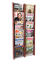 Dark wood magazine rack wall display with clear acrylic faces