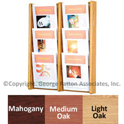 6 pocket wall hanging wood magazine rack with mounting hardware