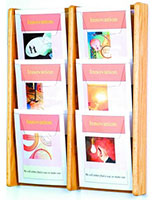 6 pocket wall hanging wood magazine rack holds 8.5 x 11 literature