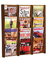 12 pocket mahogany wood magazine rack with adjustable dividers