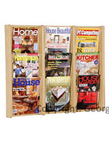 Wall mounted wood magazine rack with solid wood construction