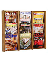 Wooden magazine rack for wall for waiting rooms and lobbies