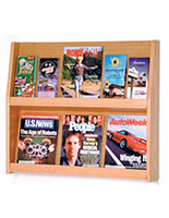 2 shelf magazine rack with 6 spaces for 8.5x11 catalogs