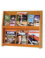 Wood magazine open shelves for building lobbies and doctor's offices