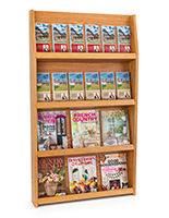 Magazine display shelves with open shelving