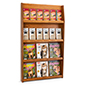 4-tier wood magazine shelving with open shelves in medium oak finish