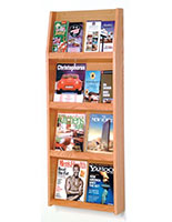 19.5-inch wide magazine literature holder for wall in light oak finish