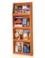 4-shelf medium oak finish wall magazine display holder with 19.5-inch wide shelves