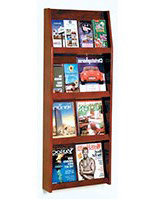 Red mahogany 4 tiered magazine rack literature wall with 19.5-inch wide shelving