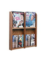 Flat wall magazine rack with 4 adjustable pockets for 8.5x11 and 4x9 literature