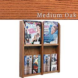 Flat wall magazine rack with 4 adjustable pockets for doctor's offices