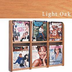 Hanging magazine rack with adjustable pockets for different literature sizes