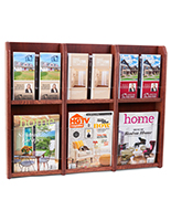 Wood wall magazine rack with adjustable pockets