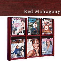 Wood wall magazine rack with acrylic literature stops