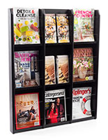 30.0 inch x 36.8 inch black finish magazine rack with dividers to fit both brochures and catalogs