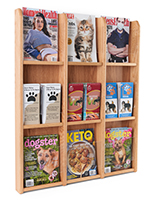 3 tier magazine display with 9 light oak finish sections