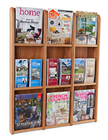 Wall hanging 9 magazine display with adjustable dividers