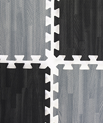 Black & Gray Wood Grain Floor Mats, (26) 2' x 2' Tiles
