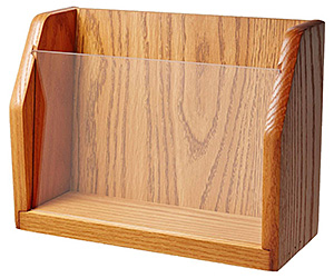A wood countertop magazine holder featuring light oak stained finish