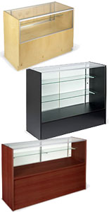 This wood show case selection is typically seen in retail stores used as display furniture.
