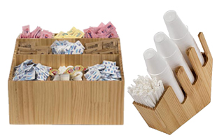 Wooden Condiment Caddies for Cafes