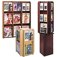 Wooden adjustable width literature displays