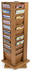 Multi-tiered wooden magazine rack
