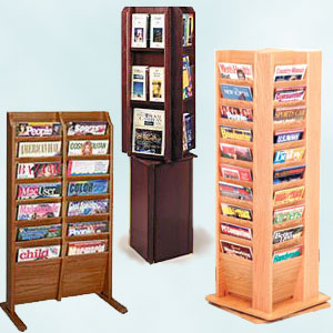 wooden magazine stands