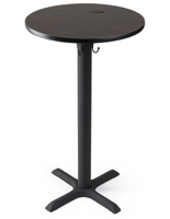 "24"" mocha walnut finish wireless power table for restaurants"