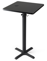 "24"" square black wireless cocktail charging table for restaurants"