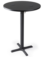 "30"" black wireless charging tall round table for restaurants"