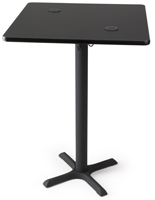 "30"" black wireless power charging square table for pubs"