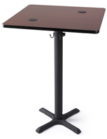 "30"" mahogany top wireless square power table for hotels"