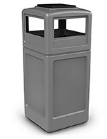 gray trash can with ash tray