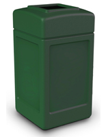 Forest Green Open Top Trash Can