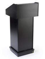 Black podium fixture with cable cutouts for audio equipment