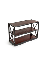 26.5-inch  tall dark colored x-frame media bookshelf