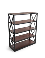 50.5-inch tall dark wood and metal display shelving