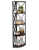 Dark brown rustic x frame metal corner unit