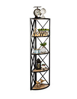 Paulownia 5-shelf rustic corner display rack