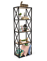 Paulownia industrial rustic 5-tier shelving unit