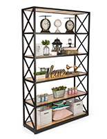 6-tier rustic ironworker industrial shelves