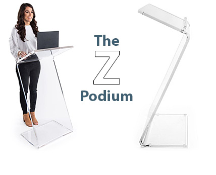 Woman standing behind a clear acrylic podium with a distinctive
