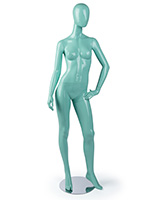 Nude Blue Faceless Mannequin with Hand on Hip